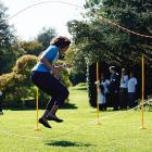 The First Lady got into some double Dutch on the South Lawn of the White House during the Healthy Kids Fair.