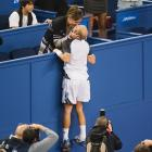 "The definition of ""love"" in tennis: Davydenko and his spouse shared an uplifting smooch after he knocked off Rafael Nadal in the Shanghai ATP Masters final on Oct. 18."