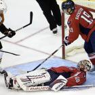 The Washington Capitals' goaltender has often been accused of being a stiff for failing to live up to his 2002 Hart (MVP) and Vezina (best goalie) trophies, but on October 27, he downed the Flyers, 4-2.