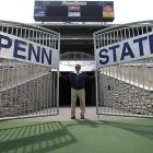 The King of State College stands by the gate of Beaver Stadium.