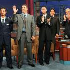 A notoriously randy late night talkshow host took time to salute (left to right) Jorge Posada, Andy Pettitte, Derek Jeter and Hideki Matsui upon their graduation from finishing school on Nov. 5.