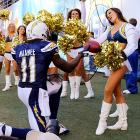"One way around the NFL's ""no dating the cheerleaders"" rule is to marry them. The Chargers wideout made an offer after scoring a touchdown against the Eagles at Qualcomm Stadium in San Diego."