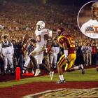 """No one has ever played a better game on college football's grandest stage. The Texas quarterback threw for 267 yards, ran for 200 more and accounted for three touchdowns as the Longhorns stunned USC 41-38 to win the 2005 national title. Young's final touchdown came on an eight-yard run on fourth down late in the fourth. """"I wasn't nervous at all when the ball was in his hands in the fourth quarter,"""" Texas defensive tackle Rodrique Wright said, """"because I knew he was going to get it done."""""""