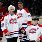 """Struggling to regain its former glory, the storied NHL franchise has reportedly re-signed two of its legendary veterans -- center Elmer Lach (A) and defenseman Emile """"Butch"""" Bouchard (C) -- to show the kids how it's done. Hey, if Gordie Howe could play pro hockey at age 69..."""