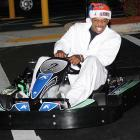 Not to be outdone by Danica Patrick, the Atlanta Hawks star tuned up for the coming IndyCar season at his Santa-Lanta Holiday Event in Alpharetta, Ga.