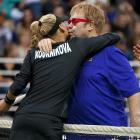 """What they mean by """"love"""" in tennis. This warm, fuzzy mixed doubles moment brought to you by the 17th Annual World Team Tennis Smash Hits event to benefit Sir Elton's AIDS Foundation."""