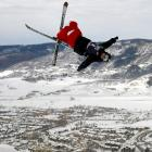 A human helicopter drops in on charming Steamboat Springs, Colorado, during the U.S. Freestyle Olympic trials on December 26.