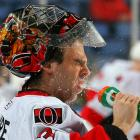 """The Ottawa Senators netminder falls prey to the classic """"shake the goalie's beer"""" prank before a game against the Sabres at HSBC Arena in frosty Buffalo, New York."""