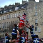 The two rugby squads dazzlingly recreated the storming of the Bastille during their Guinness Premiership match at the Recreation Ground in relaxing Bath, England on December 27.