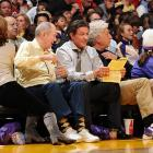 The screen great reviews the script for his forthcoming Rocky XVII flick while taking in the Lakers-Cavaliers heavyweight bout at Staples Center in glitzy LA on Christmas Day.