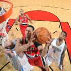 Brandon Roy (No. 7) finished with a game-high 41 points on 16-of-26 shooting as the Blazers pulled to within a game of the Northwest Division lead with a 107-96 win over the Nuggets.