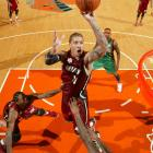 Michael Beasley put up 19 points -- 13 in the second half -- while the Heat held the Knicks to just 31 points total in the second and third quarters.