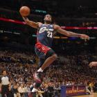 In his 41 minutes on the court, James scored a team-high 26 points -- two of which came from this hard windmill dunk -- and dished out nine assists. With the win, LeBron has taken three out four meetings with Kobe in L.A.