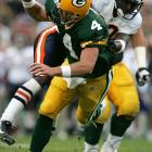 Favre had his fair share of memorable moments against Chicago, but this game was certainly not one of them. In the first shutout of his then-16-year career, Favre went 15-of-29 passing with two interceptions as the Bears pounded the Packers 26-0.