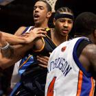 The 2006 incident at Madison Square Garden occurred in the last two minutes of the Nuggets' win when Knicks rookie Mardy Collins fouled J.R. Smith by grabbing him by the neck. An argument between the two escalated into an all-out brawl, and Anthony (center) topped it off by punching Collins in the face. Seven players were suspended -- totaling 47 games -- with Anthony taking the most stringent punishment of them all: 15 games.