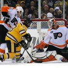 The Bruins finally broke through at the 17:42 mark of the third period when former Flyer Mark Recchi tipped a Derek Morris shot past Michael Leighton for a power-play goal.