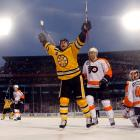 """Marco Sturm scored the walk-off goal at 1:57 into overtime. """"The experience is once-in-a-lifetime,"""" he said. """"Bruins, Flyers, 40,000 fans on a perfect day, you couldn't ask for anything better for the game of hockey."""""""