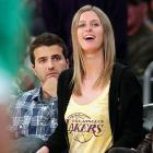 And here we have yet another full color photograph of two celebrities looking at something in the Staples Center. Amazing what goes on in that place, isn't it?
