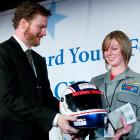 Dale Earnhardt, Jr. left his wheels at home, but just couldn't resist bringing a helmet along to the Youth foundation gala in Washington, D.C.