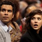 Jessica Alba looks far from amused while watching the Pistons-Clippers game with husband Cash Warren.