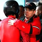 Prince Albert of Monaco, doing his royal duties and congratulating the nation's bobsledding team.