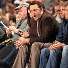 Vince Vaughn yells some words of wisdom to his home team, the Chicago Bulls, as they battle the Philadelphia 76ers.
