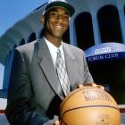 The rookie poses outside his new home in 1997, the Great Western Forum in Inglewood, Calif.