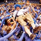 Hair Club For Men's latest success story celebrated the arrival of his lush new crop on top with the famed Cameron Crazies of Durham, North Carolina.
