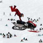 This one is either a recreational vehicle test drive gone horribly awry or an X Games competitor attempting to kill as many spectators as possible by dropping a snowmobile on them. Either way, this eyepopping shot was taken on March 10 in Tignes, France.