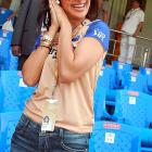 The bewitching Bollywood starlet thrilled to excitement of the Indian Premier League T20 group stage cricket match between the Mumbai Indians and Rajasthan Royals -- farm clubs of MLB's Cleveland Indians and Kansas City Royals. We could be wrong on that last count, though. We still don't quite grasp cricket...