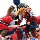 The NHL's head shots controversy seems to have mascots in its icy, painful grip. A photographer caught Carolina's Stormy the Ice Hog delivering a vicious blow to the noggin of Atlanta's Thrash before a game at RBC Center in Raleigh, N.C., on March 21.