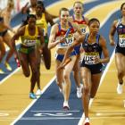 Allyson Felix of the U.S. leads the 4x400m relay final at the 2010 IAAF World Indoor Athletics Championships on March 14 at the Aspire Dome in Doha, Qatar. The United States won the gold medal.