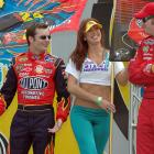 Earnhardt, Jr. is seen here with Jeff Gordon and Belgian model (and Gordon's future wife) Ingrid Vandebosch at the Ford 400.
