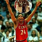Despite boasting a lineup chalk full of NBA talent, including an intimidating front line of Vince Carter, Antawn Jamison, and Brendan Haywood, the Tar Heels lost 65-69 to Utah in the semifinals. Andre Miller and Michael Doleac chipped in 16 points apiece for the Utes, who would go on to lose to Kentucky in the title game.