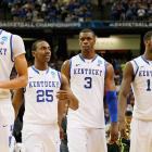 Top-seeded Kentucky won its first four tournament games by at least 10 points, then got past Louisville 69-61 in the national semifinals and dispatched Kansas 67-59 in the final for its eighth national championship. The three other Final Four participants all defeated the top seeds in their regions.