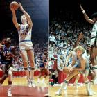 """Led by National Player of the Year and future Celtic Hall of Famer Larry Bird, Indiana State entered the 1979 Final Four with an undefeated record. But after edging out DePaul in the tournament semifinals (far left), the Sycamores fell to Michigan State and Earvin """"Magic"""" Johnson in front of an estimated TV audience of 20 million."""
