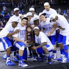 After beating North Carolina, Kentucky celebrates the school's first Final Four appearance since 1998. The Wildcats will face off against UConn on Saturday night.
