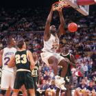 Shaq shows off his signature power dunk during a 1991 game against Southeastern Louisiana.