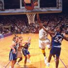 Shaq dunks on Jamal Mashburn during a 1992 Kentucky-LSU game. O'Neal left LSU with a career 61 percent field goal percentage, second all time at LSU and in the SEC.