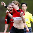 Another proud graduate of the Brandi Chastain School of Goal Celebrations struts her stuff at the Women's Bundesliga match between FCR 2001 Duisburg II and Bayer '04 Leverkusen in Duisburg, Germany on April 5.