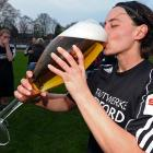 The Herforder SV player celebrated with a short beer after her Women's 2 Bundesliga soccer match vs. Magdeburger FFC in Herford, Germany on April 14. Good thing it wasn't a beer pong match...