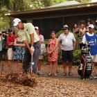 Once again, we've misplaced our monocle, but this one appears to be the son of fictional millionaire Thurston Howell III digging his way out of some rough at the Gilligan's Island Open somewhere in the Pacific.