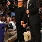The new coach, or so he thinks, of the Lakers directs his charges during NBA playoff action against the Oklahoma Thunder on April 20 at Staples Center.