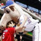 In other equine news, the Texas mascot, who is listed at 30-to-1 in our Kentucky Derby morning line, chowed down on a clearly horrified fan at the Rangers Ballpark in Arlington on April 25.