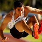 Fabrice Lapierre of the NSWIS competes in the Men's Long Jump Open during Day Three of the Australian Athletics Championships in Perth, Australia, on April 18.