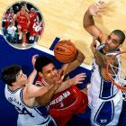 Just two years after Bob Knight and the Hoosiers parted ways, Indiana made an unlikely return to glory. The Hoosiers beat defending champion Duke (stocked with NBA talent like Jay Williams, Carlos Boozer, Chris Duhon, Mike Dunleavy Jr. and Dahntay Jones) 74-73 thanks to 24 points and 15 boards from star forward Jared Jeffries.