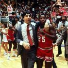 After sneaking into the tournament field by winning the ACC tournament, coach Jim Valvano's Wolfpack team needed overtime to get past Pepperdine in the first round. Virginia, led by future No. 1 NBA draft pick Ralph Sampson, had beaten N.C. State twice in the regular season and lost to it in the ACC tourney finale, but when the two tangled for a fourth time, in the Elite Eight, the Pack punched its ticket to the Final Four.