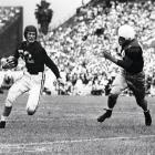 Alabama's Harry Gilmer (number 52), a single-wing back, went first overall in '48, but it was the two Southern gunslingers taken after him who distinguished this draft. Bobby Layne of Texas (Round 1, 3rd overall, Bears) and Y.A. Tittle of LSU (R1, 6, Lions).
