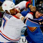 Now in the twilight of his 12-year NHL career -- his season-and-a-half in Montreal was plagued by injury and in January the team suspended him with pay for the rest of the schedule, citing lack of productivity -- but in his prime, he was one of the league's most feared purveyors of knuckle sandwiches. Interestingly, all six of his votes (2.2 percent) came from players in the Eastern Conference.