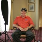 Mickelson gets ready for an interview after the 2006 Zurich Classic.